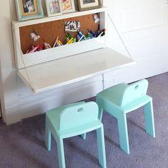 Small Kids Desk, Kids Desk Space, Space Saving Desk, Desks For Small Spaces, Kid Desk, Space Saving Furniture, Diy Furniture, Desk For Kids, Kid Spaces