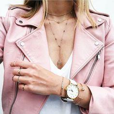 Zara body chain / Zara pink leather jacket / Charlize Watch / FawnxFern bracelet and rings