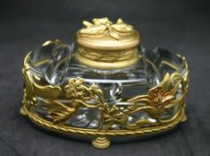 Art Nouveau Inkwell -  One stunning art nouveau inkwell, circa 1890. From a French family. Price: $1995.00