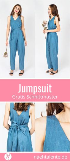 Jumpsuit for women - free sewing pattern Sewing talents - Free sewing pattern for a jumpsuit for women. Size 34 – Suitable for light and medium weight - Sewing Patterns For Kids, Dress Sewing Patterns, Vintage Sewing Patterns, Clothing Patterns, Pattern Sewing, Free Pattern, Crochet Patterns, Knitting Patterns, Vogue Patterns