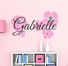Large Pink Flowers Custom Name Printed Fabric Repositionable Wall Decal