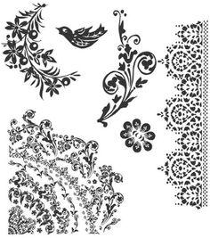 Tim Holtz Cling Rubber Stamp Set-Floral Tattoo at Joann.com