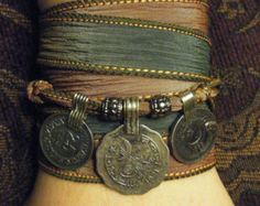 Mystical Moonlight Boho Gypsy Silk Wrap Bracelet w/ Tribal Kuchi Coins, Gypsy, Bellydance, Yoga Bracelet, Silver Accents