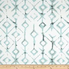 Premier Prints Tribal Twill Canal from @fabricdotcom Screen printed on cotton twill, this versatile lightweight fabric is perfect for window accents (draperies, valances, curtains, and swags), accent pillows, duvet covers, and upholstery projects. Colors include aqua blue, white and tan.