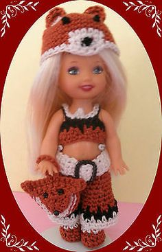 "Crochet Doll Clothes Foxy Kelly Outfit for 4 ½"" Kelly Same Sized Dolls 