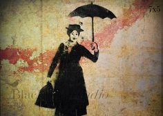Mary Poppins Stencil Street Art  London  Fine by blackbirdphotoUK, $15.00