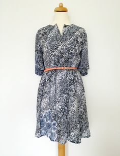 Night Blue Flowers Vintage Dress. 70s Japanese by HappySweaters