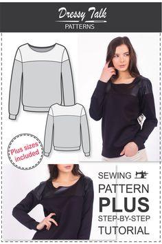 Sweatshirt Sewing Pattern - Sewing Tutorials - Sewing Patterns - Womens Sewing Patterns - Sweatshirt Pattern - Plus Size Patterns - Sew Easy Plus Size Sewing Patterns, Pattern Sewing, Dress Sewing Tutorials, Sewing Projects, Sewing Ideas, Sewing Sleeves, Plus Size Tips, Sweatshirt Refashion, Sewing Clothes