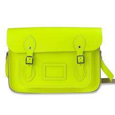 """cambridge satchel 13"""" (fluoro yellow)"""
