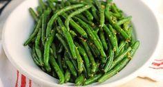 Basil Garlic Green Beans: Fresh seasonal green beans need just basil leaves and minced garlic for great flavor. andlt