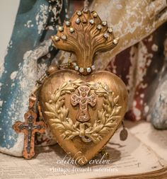 Gorgeous Ex Voto Sacred Heart and Rosary Hinged by edithandevelyn