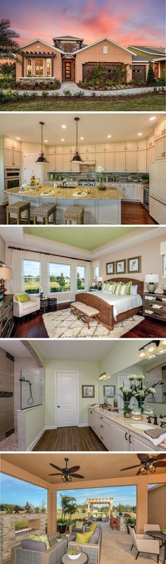 The Lorenzo by David Weekley Homes in Encore is a custom home floorplan that features a large owners retreat with tray ceilings, a lanai and an open kitchen and family room layout. Custom home upgrades includes an extended lanai, a vaulted ceiling in the owner retreat or a bath in the owners bathroom.