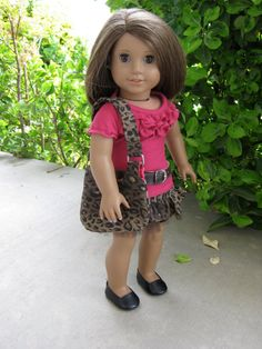 American Girl Doll Leopard Print Skirt , Belt, Ruffled Shirt, fabulous wallet and purse. (Sold on Etsy - from Artistic Amy)