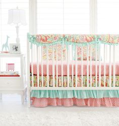 Pink and Aqua Paisley Crib Bedding for Baby Girl | Sweet Pink Paisley Baby Bedding Collection by threewishesbeddingco on Etsy https://www.etsy.com/listing/240633178/pink-and-aqua-paisley-crib-bedding-for