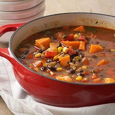 Sweet Potato Black Bean Stew Forget that stick-to-your-ribs business. This stew guarantees energy in a bowl from the combined hint of sweetness, kick of spice, and splash of citrus.