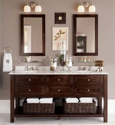 taupe bathroom- espresso double sink console (Pottery Barn)