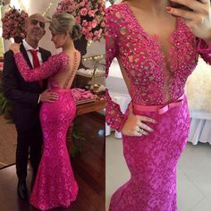 Stunning Long Sleeve Lace Evening Dress 2017 Pearls Mermaid Prom Gown