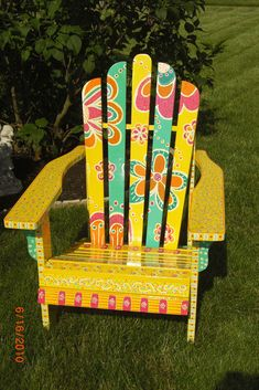 Flower Power Adirondeck Chair in 2020 Hand Painted Chairs, Whimsical Painted Furniture, Hand Painted Furniture, Funky Furniture, Rustic Furniture, Furniture Makeover, Furniture Design, Outdoor Furniture, Furniture Stores