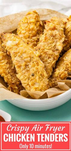 Air Fryer Chicken Tenders are crispy on the outside and juicy on the inside! These homemade breaded chicken strips are marinated in buttermilk to make them extra tender and have a crispy flavorful crust seasoned with my KFC-copycat spice mix. Air Fryer Recipes Chicken Tenders, Chicken Tenders Healthy, Air Fryer Fried Chicken, Breaded Chicken Tenders, Air Fried Food, Healthy Fried Chicken, Deep Fryer Recipes Chicken, Buttermilk Fried Chicken Tenders, Healthy Chicken Strips
