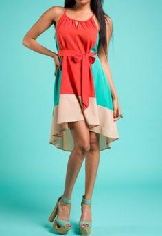 Trendy Hi-Low Hem Dress | Colorful Color Block Dress | Casual Day Dress