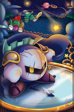 Kirby Things by I love this so much! Especially Meta Knight and his reflection! Kirby looks like he's having fun as well! Meta Knight, Knight Art, Kirby Character, Game Character, Creepypasta Anime, Nintendo, Pokemon, Videogames, Kid Icarus