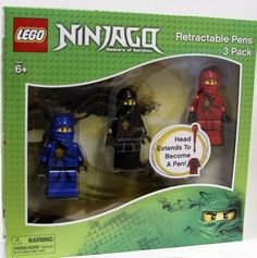 Lego Ninjago Retractable Pens 3 Pack by LEGO. $21.99. Head extends to become a pen. Lego Ninjago Retractable Pens 3 Pack. Masters of Spinjitzu. Lego Ninjago Retractable Pens includes body deck for easy display and storage.