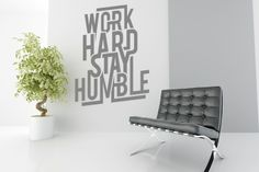 Work hard by Stickaroo, Wall sticker art & Decals Wall Sticker, Decals, Barcelona Chair, Typo, Work Hard, Lounge, Furniture, Design, Home Decor