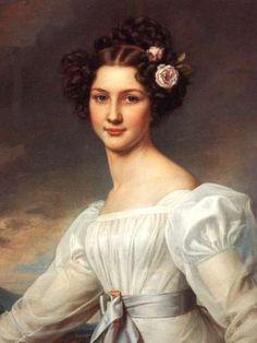 Auguste Strobl, erste Fassung, gemalt im Dezember 1826 von Karl Stieler, Schönheitengalerie Nymphenburg – Wikipedia