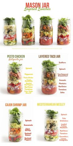 I LOVE making mason jar salads and these ideas are awesome! SO easy to do them in batches and just take with you. They stay very fresh, too. _Mason Jar Layered Lunches.