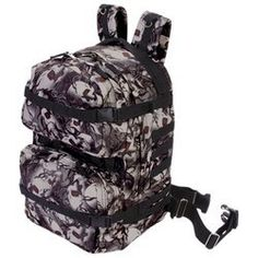 "Extreme PakTM Red-eye Skull Camo Water-resistant 19"" Backpack. Measures 14"" X 19"" X 8""."