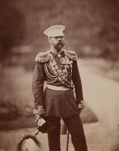 "Photo of Tsar Alexander II ""Sasha"" (Alexander Nikolaevich Romanov) (29 Apr 1818-13 Mar 1881) Russia by artist unknown in 1870s. The 4th of 6 assassination attempts was In 1879. The Narodnaya Volya (People's Will), a radical revolutionary group, set off an explosion on the railroad from Livadia to Moscow but they missed the emperor's train."
