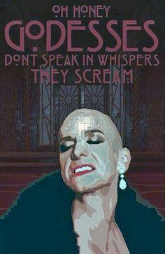 """Liz Taylor, Denis O'Hare, """"Goddesses don't speak in whispers, they scream."""" AHS: Hotel"""
