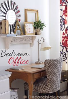Office in the Bedroom | www.decorchick.com Love this! Maybe I can read somewhere besides the bed and not fall asleep!