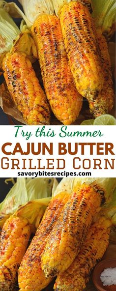 Spicy and Buttery Cajun spiced grilled street corn. Corn Butter Recipe, Grilled Corn Recipe, Corn Recipes, Veggie Recipes, Grilling Recipes, Cooking Recipes, Traeger Recipes, Bbq Corn On The Cob, Mexican Grilled Corn