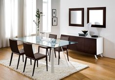 DINING ROOM IDEA - The Domitalia Archie-180 dining table which is a very contemporary designed dining table, a beautiful centre piece for a modern home! This version is slightly smaller and comes with a glass top, see the Archie table which is available in larger sizes and with a wooden top.