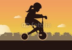 Girl with Tricycle Illustration with Adobe Illustrator By Eric Scherrer Motorcycle Shop, Tricycle, Mountain Biking, Adobe Illustrator, Children, Illustration, Shops, Young Children, Boys