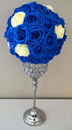 ROYAL BLUE With IVORY Accents Flower Ball wedding by KimeeKouture