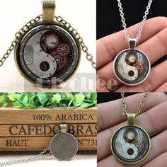 Vintage Gear Steampunk Tai Chi Glass Cabochon Cameo Pendant Necklace Cheap #Unbranded #Necklace