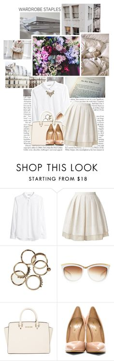 """wardrobe staples"" by myduza-and-koteczka ❤ liked on Polyvore featuring Concord, Vous Etes, H&M, Orla Kiely, Alexander McQueen, MICHAEL Michael Kors, Nicholas Kirkwood and Erickson Beamon"