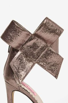 Betsey Johnson Frisky Bow Leather Heel - Silver - Shoes | Open Toe