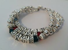 3 string - 3 name Mother Bracelet with Birthstones by Swarovski - Designs By Leigha Photo Gallery http://www.designsbyleigha.com - sterling silver link