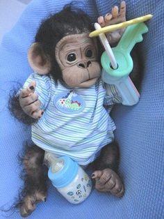 reborn clay baby ooak monkey sculpt art doll Chimpanzee
