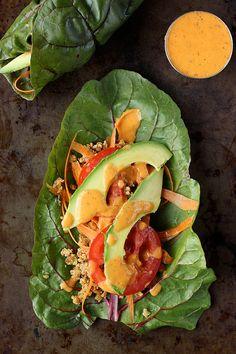"""Swiss Chard Wraps with Raw Walnut Taco """"Meat"""" (Gluten-free and Vegan) - Tasty Yummies"""