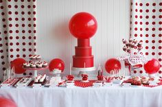 Classic Red Ball Birthday {child birthday} What child doesn't love to throw and bounce a ball? Check out this amazing Class Red Ball dessert table in a red and… Ball Birthday Parties, Birthday Party Themes, Birthday Ideas, Girl Birthday, Canada Day Party, Red Party, Party Party, Elements Of Design, Childrens Party