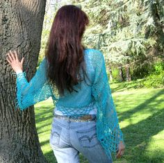 TURQUOISEElegant Hand Knitted Cotton Shrug by Rumina on Etsy, $65.00