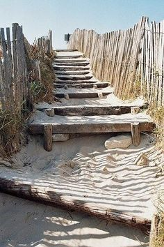 Sandy Stairs between the sand dunes at the beach by the sea. I imagine that just beyond that top stair is the most breathtaking view of a clear blue ocean. I can almost smell the sea! I Love The Beach, Stairway To Heaven, Summer Dream, Summer Beach, Am Meer, Ocean Beach, Beach Walk, Beach Bum, Montauk Beach