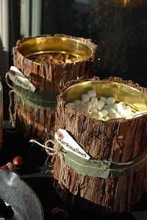 Bark lined cans with snacks for party - if using bark from out of doors - place in warm oven for at least 1/2 hour to kill insects before placing near food.