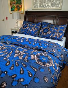 Shop for African Print (Ankara) double-sided Duvet Cover Set. Set includes a duvet cover and 2 Shams. African Interior Design, Home Interior Design, Baby Furniture Sets, African Furniture, African Home Decor, Soft Furnishings, Duvet Cover Sets, Set Cover, Bedding Sets