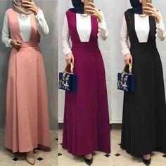 High Waist Slit Back Sleeveless Overcoat Dress : New Elegant Muslim Abaya Dress Islamic Fashion, Muslim Fashion, Modest Fashion, Fashion Dresses, Beautiful Gown Designs, Kaftan, Hijab Evening Dress, Hijab Dress, African Print Clothing