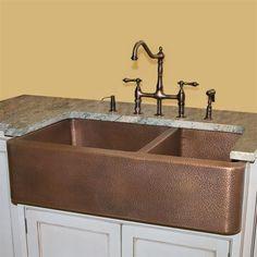 pinterest copper farm sink | Found on signaturehardware.com